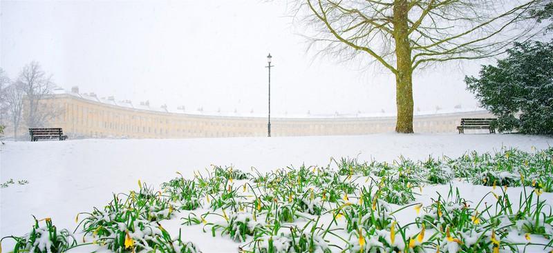 Spring snow, Royal Crescent, Bath. EDC 300 - Bath