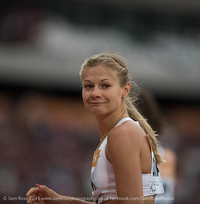 Margarita Goncharova (RUS) Womens T38 100m - London Anniversary Games IPC Paralympics day 2015