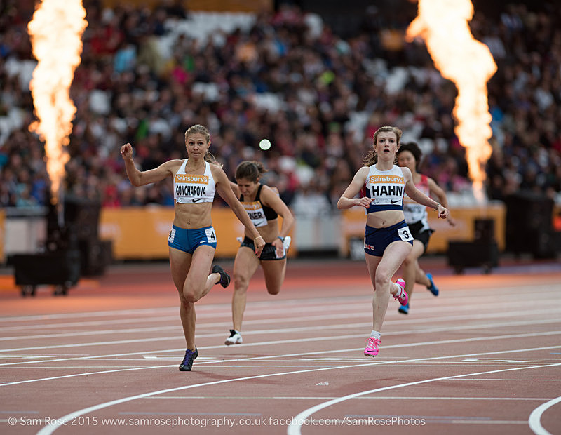 Sophie Hahn (GBR) and Margarita Goncharova (RUS) Womens T38 100m - London Anniversary Games IPC Paralympics day 2015