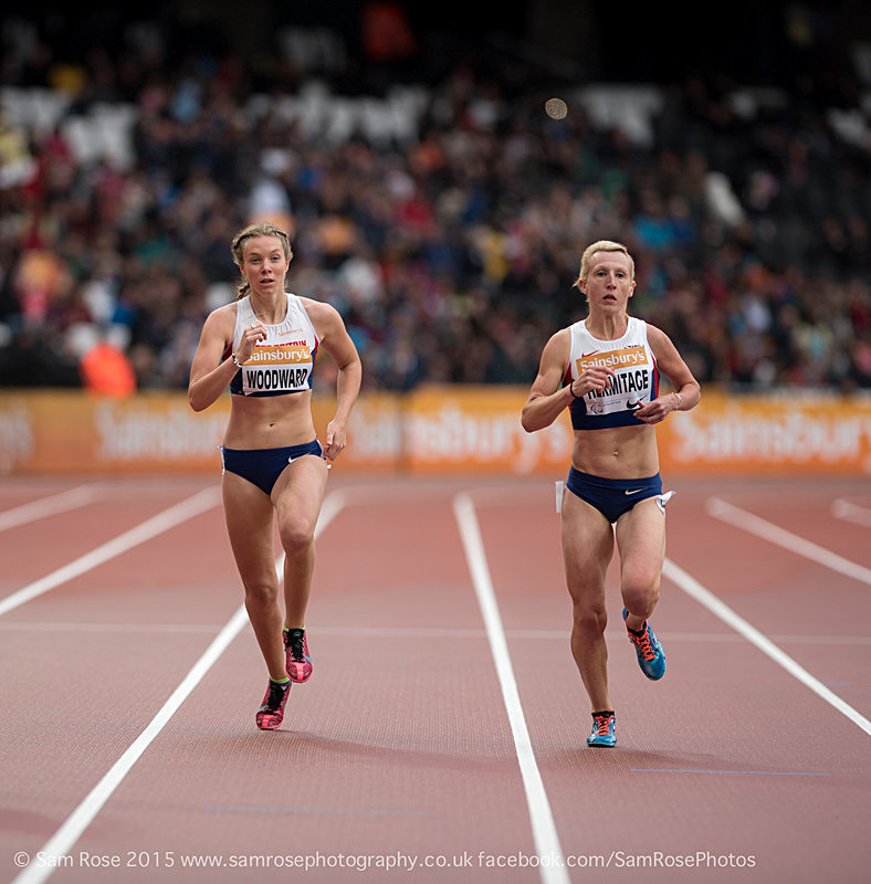 Georgie Hermitage and Bethany Woodward (4th)(GBR) 400m Women — T37 - London Anniversary Games IPC Paralympics day 2015