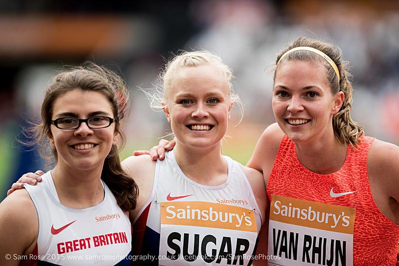 Sophie Kamlish (GBR), Laura Sugar (GBR), Marlou Van Rhijn (NED) - London Anniversary Games IPC Paralympics day 2015