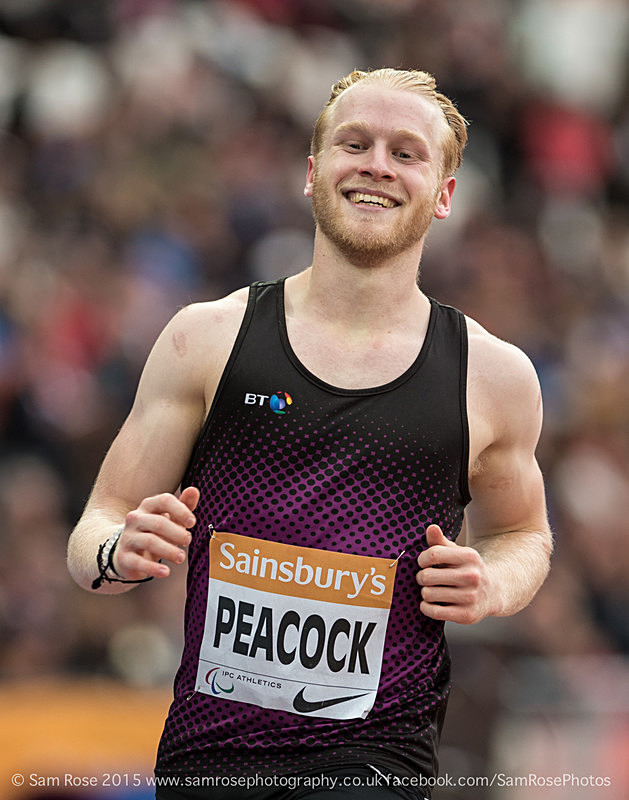 Jonnie Peacock (GBR - silver) Mens T37 100m - London Anniversary Games IPC Paralympics day 2015