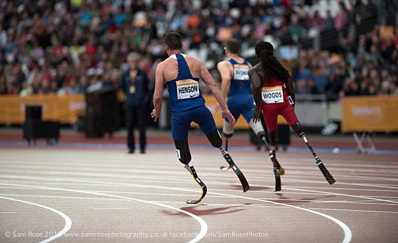 David Henson (GBR), Regas Woods (USA) and Richard White (GBR) - London Anniversary Games IPC Paralympics day 2015