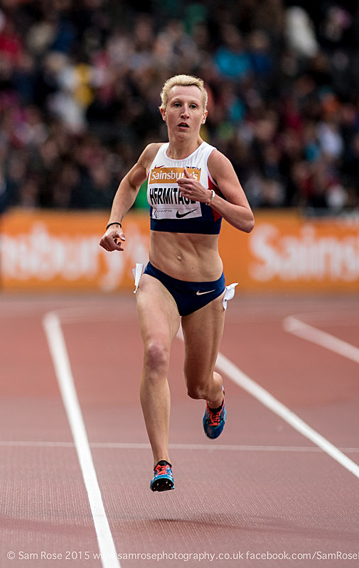 Georgie Hermitage (GBR) 400m Women — T37 - Gold medal and WORLD RECORD - London Anniversary Games IPC Paralympics day 2015