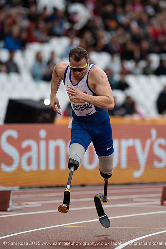 Richard Whitehead (GBR) 200m Men — T42, Gold Medal - London Anniversary Games IPC Paralympics day 2015