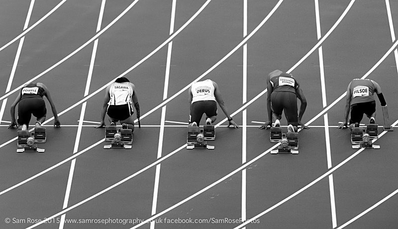 Mens 100m T37 start - London Anniversary Games IPC Paralympics day 2015