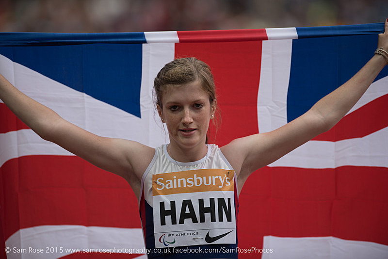 Sophie Hahn (GBR) Womens T38 100m, Gold medal and WORLD RECORD - London Anniversary Games IPC Paralympics day 2015