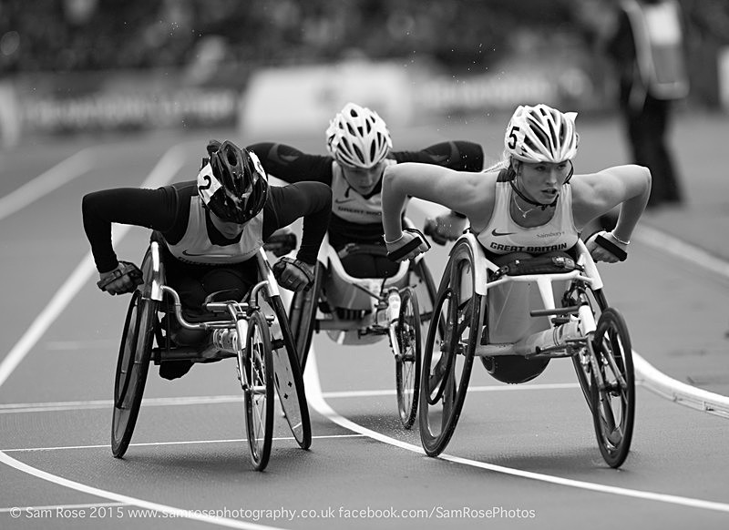 Jade Jones (3rd), Shelly Woods (4th) and Samantha Kinghorn (5th) (GB) - London Anniversary Games IPC Paralympics day 2015