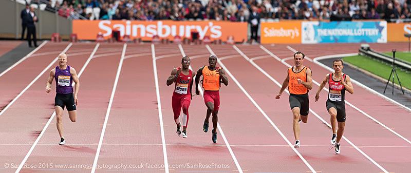 Mens 200m T11/12 David Brown (US) winner - London Anniversary Games IPC Paralympics day 2015