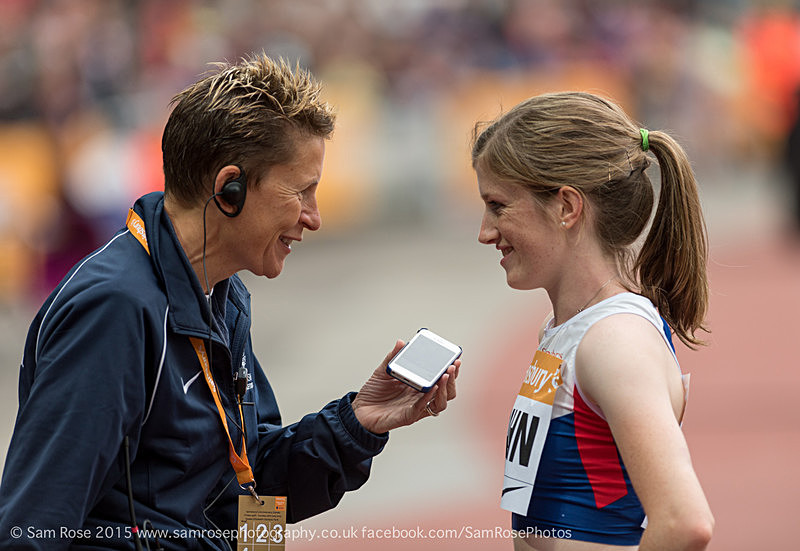 Sophie Hahn talking to Carol Austin from British Athletics - London Anniversary Games IPC Paralympics day 2015