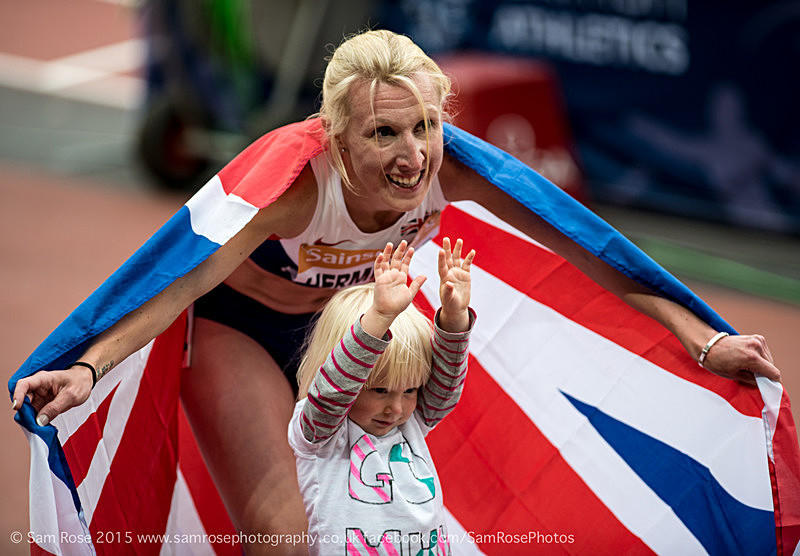 Georgie Hermitage and daughter Tilly (GBR) 400m Women — T37 - Gold - London Anniversary Games IPC Paralympics day 2015