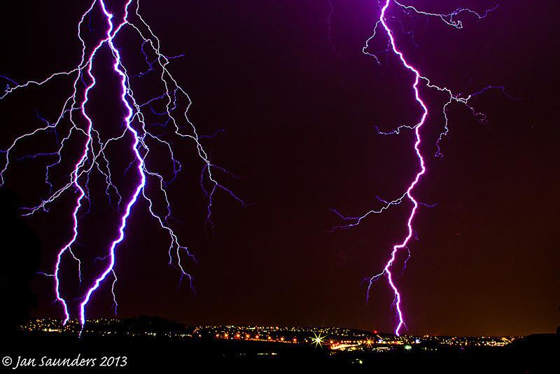 Light trails and traffic trails - Lightning Strikes