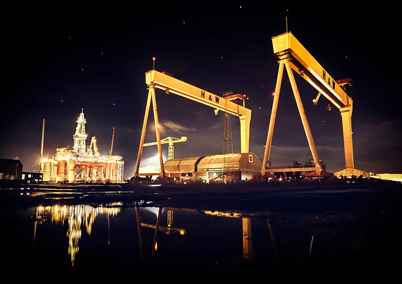 Harland & Wolff at night. - Irish Landscapes
