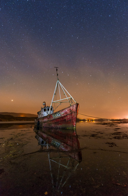 Old Boat Sabrina - Donegal's Sky at Night