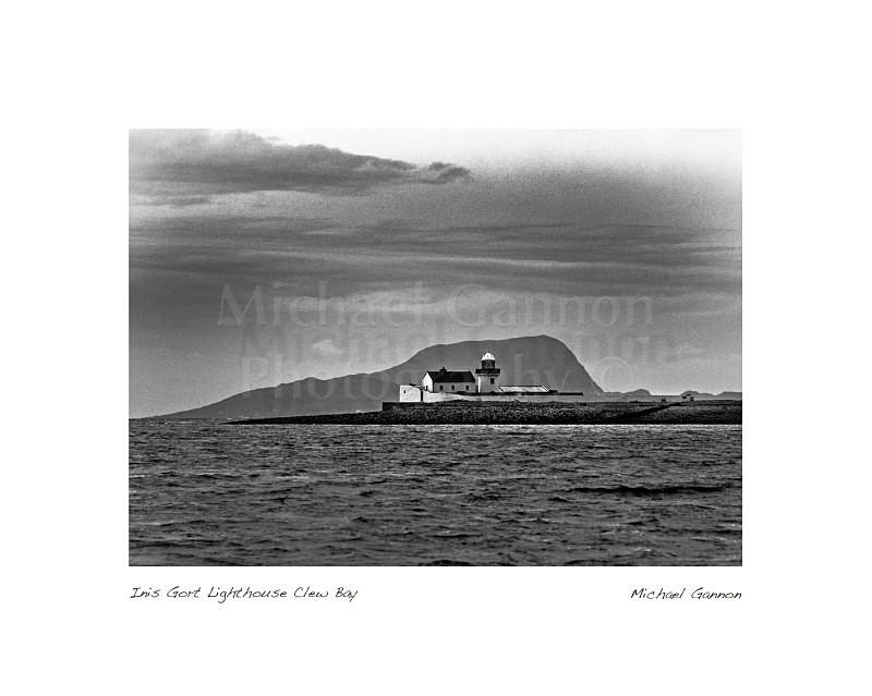 Inis Gort Lighthouse Clew Bay 1 - Landscape Black and White