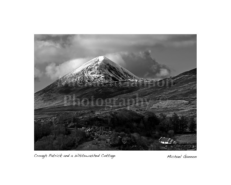 Croagh Patrick and a Whitewashed Cottage - Landscape Black and White