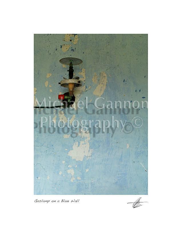 Gaslamp on a Blue Wall - Derelict Ireland
