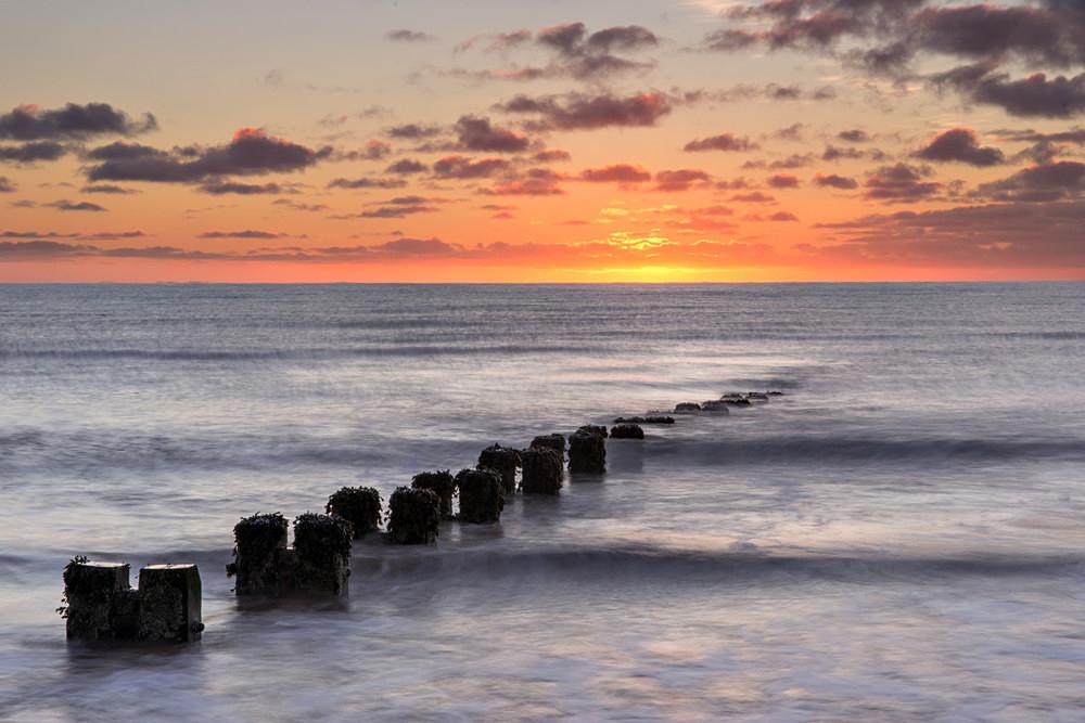 Groynes at Sunrise - Yorkshire