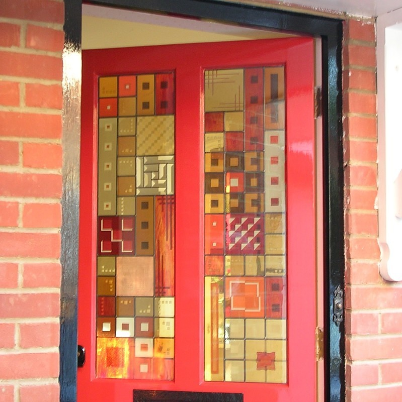 Red front door | Carole Gray | Stained glass commission