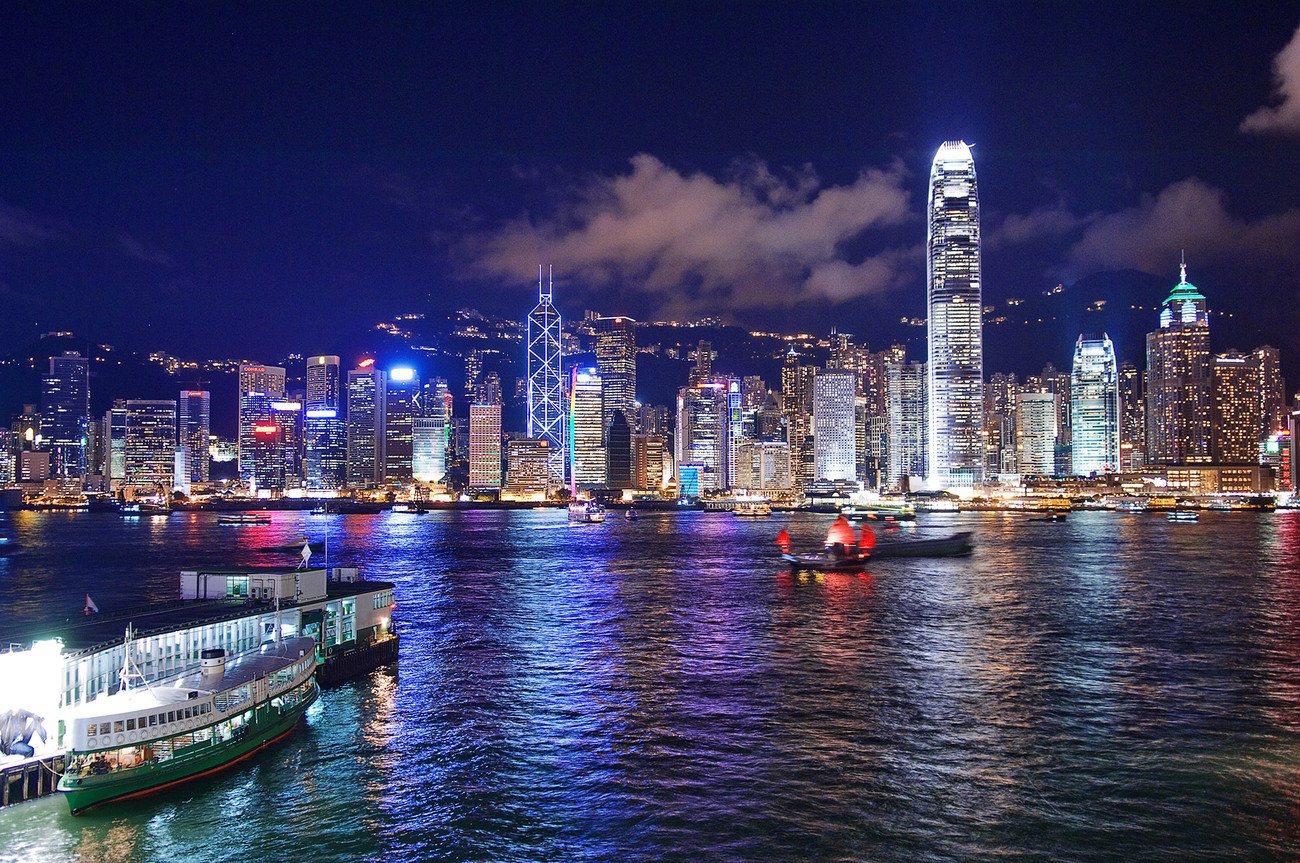 KM-323M  Central at night from OT with Aqua Luna Junk - Hong Kong - Contemporary