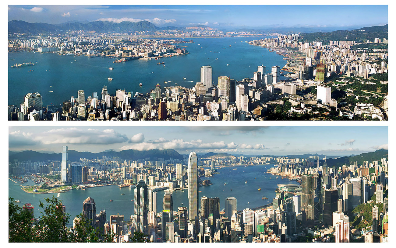 KMPAN-05M The Harbour from the Peak from 1982 to 2013 - Panoramas of Hong Kong - comtemporary