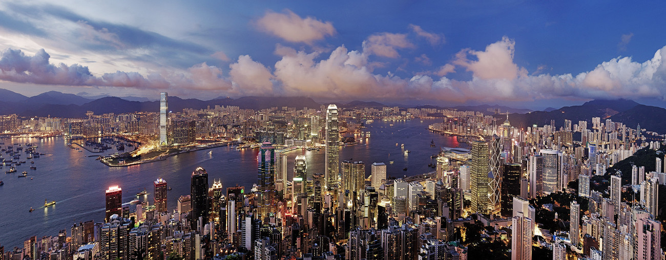KMPAN-01A The Harbour from the Peak at night - 2012 - Panoramas of Hong Kong - comtemporary