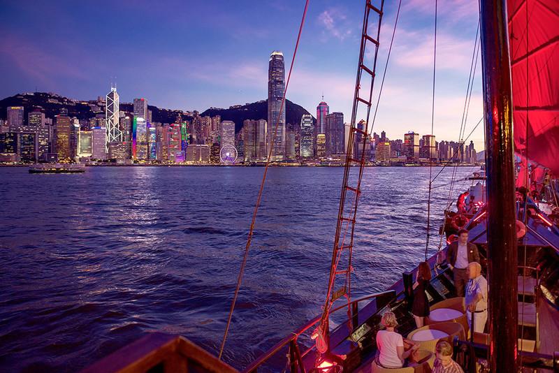 The island at sunset from the Aqua Luna Junk - DSC_8121 - Hong Kong with the Aqua Luna Junk