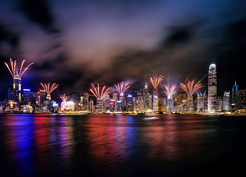 Fireworks from Central buildings - Hong Kong with the Aqua Luna Junk