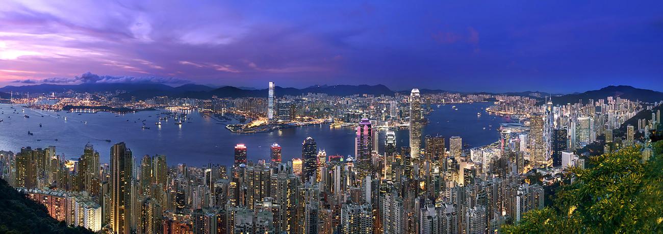 KMPAN-03 The Harbour from the Peak at night - 2015 - Panoramas of Hong Kong - comtemporary