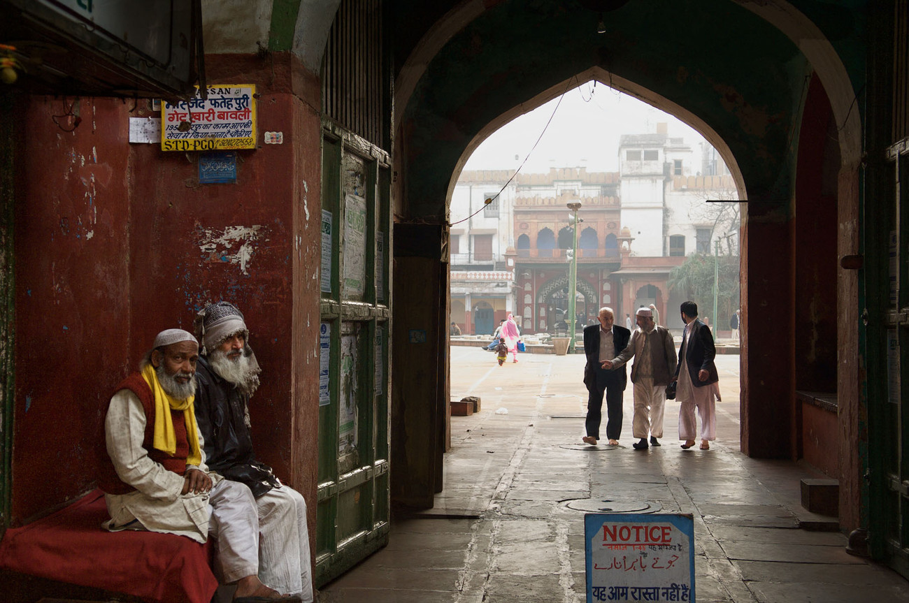 Old men near the Mosque, Old Delhi - India