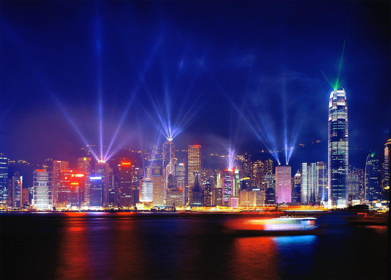 Hong Kong Central - Symphony of Light lasers - Hong Kong with the Aqua Luna Junk