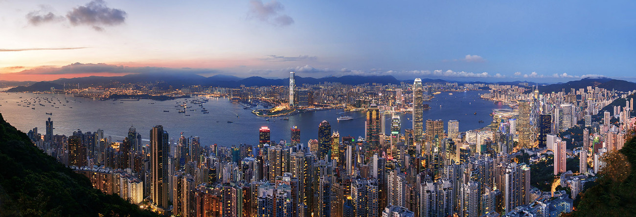 KMPAN-01 The Harbour from the Peak at dusk - 2015 - Panoramas of Hong Kong - comtemporary