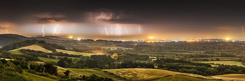 1421 Lightning Storm Sandown Bay - The Isle of Wight at Night panoramics
