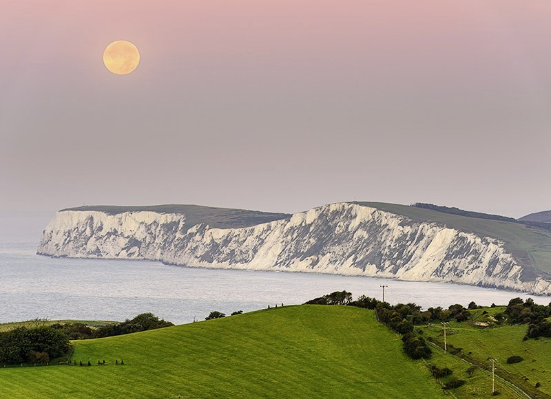 1608 Moonset over Tennyson Down - The Isle of Wight at Night landscapes