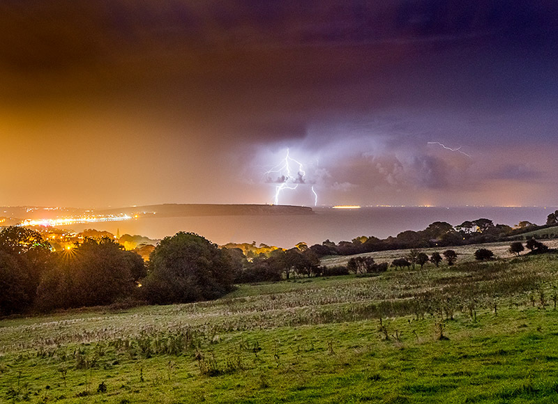 1734 Lightning Sandown Bay - The Isle of Wight at Night landscapes