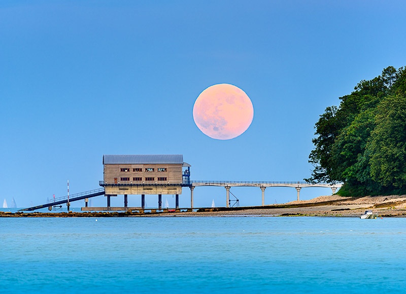 1874 Moonrise Bembridge Lifeboat Station - Bembridge and East Wight landscape
