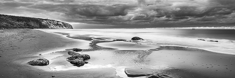 1279 Culver Cliff bw - Sandown, Shanklin and Godshill panoramics