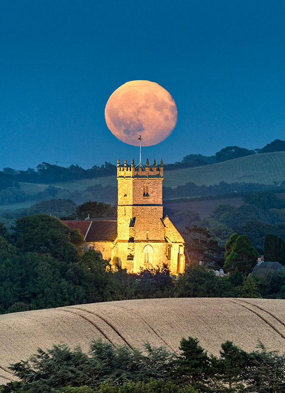 1913 Moonrise Godshill Church - Sandown, Shanklin and Godshill landscapes