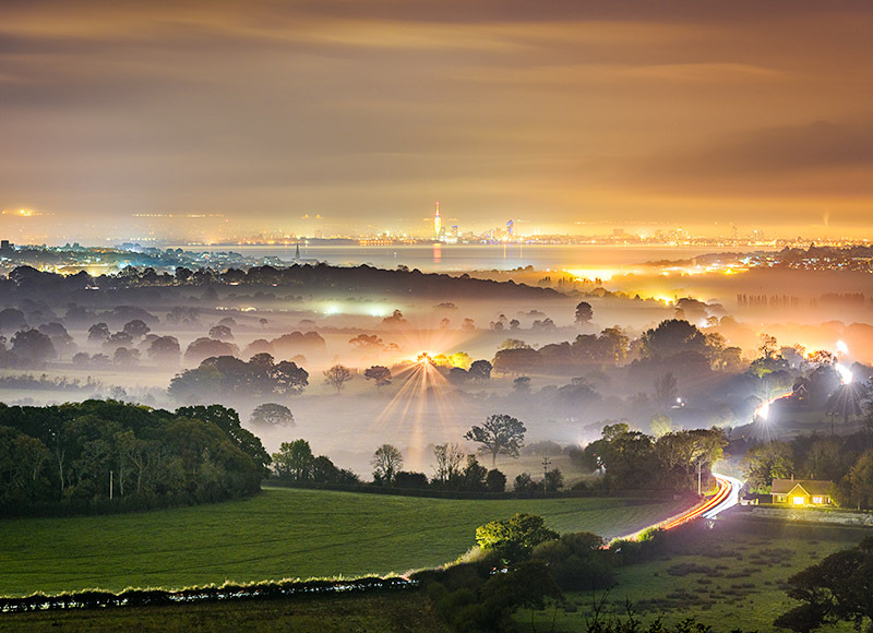 1762 Misty Evening Ashey Down - Ryde, Havenstreet and Wootton landscapes
