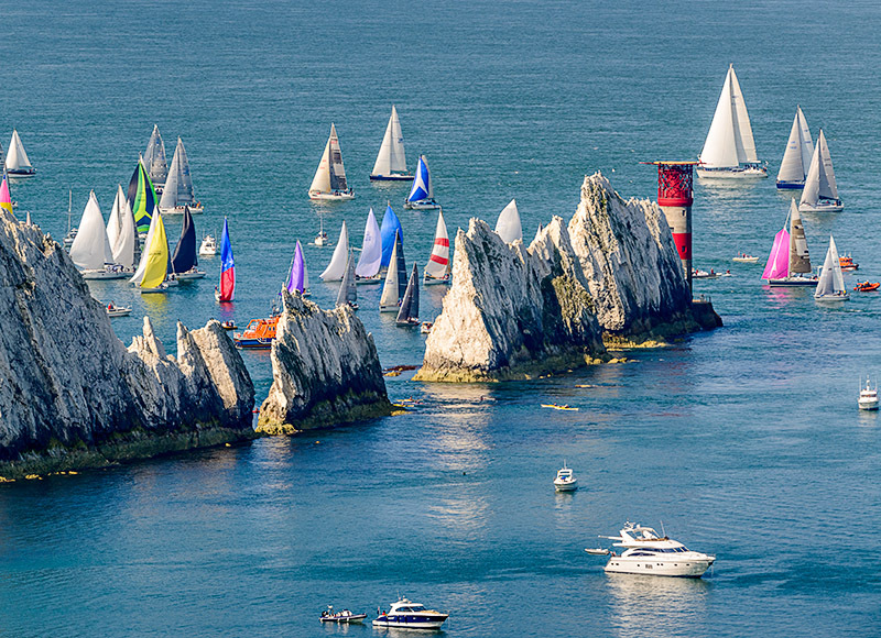 1871 Round the Island Race - Alum Bay and The Needles landscapes