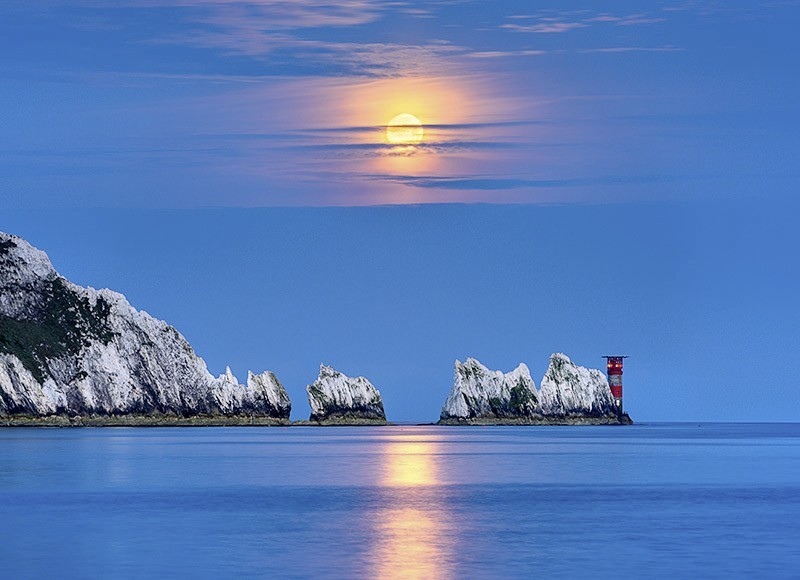 1703 Moonset over The Needles - The Isle of Wight at Night landscapes