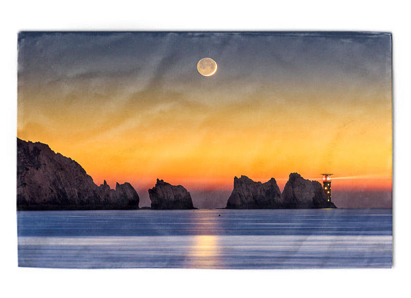 The Needles Moonset tea towel - Tea towels