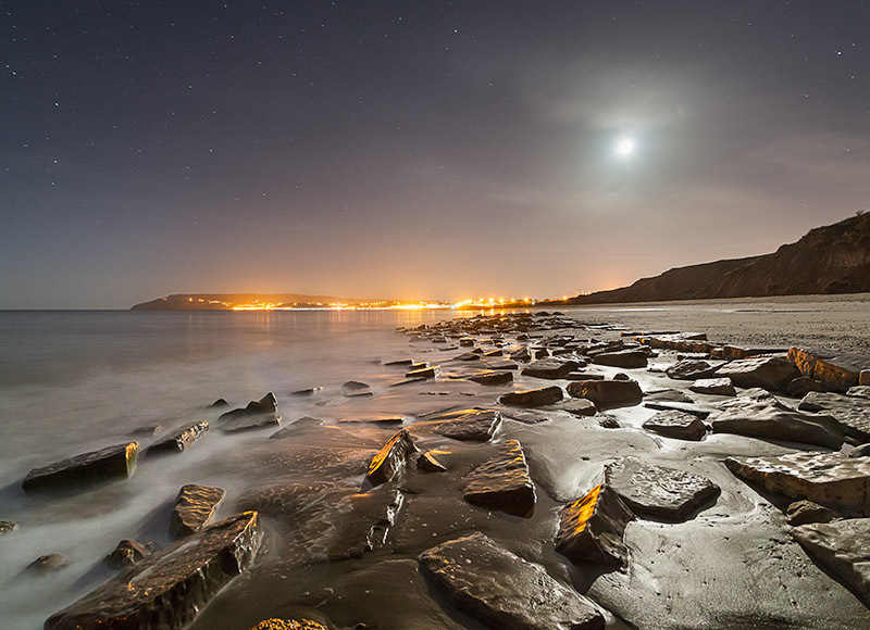 1384 Sandown Bay by Moonlight - The Isle of Wight at Night landscapes