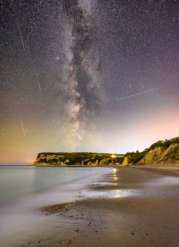 1724 Milky Way and Perseid Meteors Whitecliff Bay - Bembridge and East Wight landscape