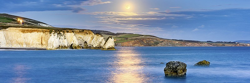 1813 Moonrise Freshwater Bay - The Isle of Wight at Night panoramics