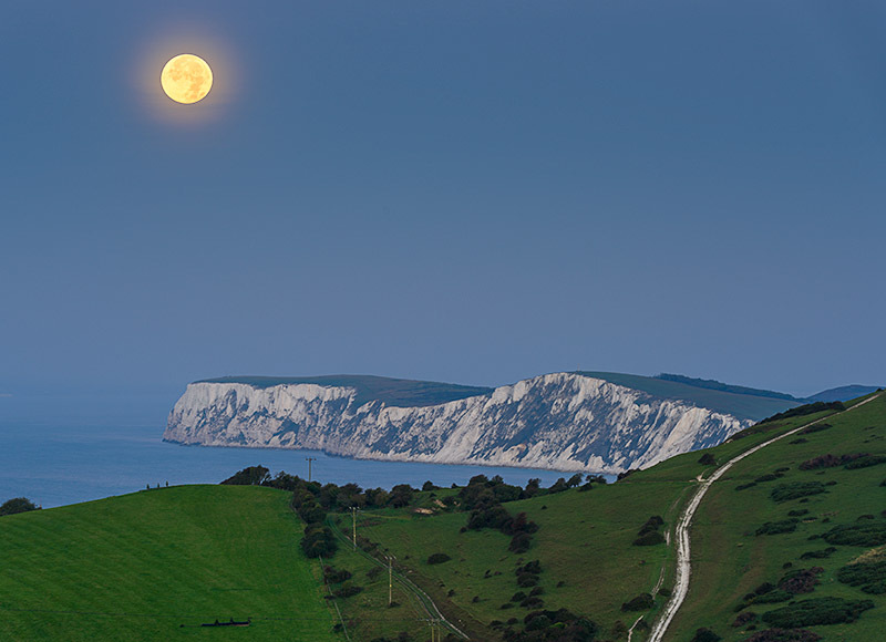 1755 Moonset over Tennyson Down - The Isle of Wight at Night landscapes