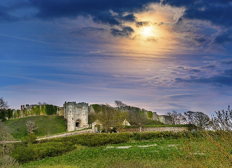 1831 Moonrise Carisbrooke Castle - The Isle of Wight at Night landscapes