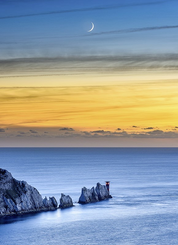 1749 Crescent Moonset The Needles - The Isle of Wight at Night landscapes