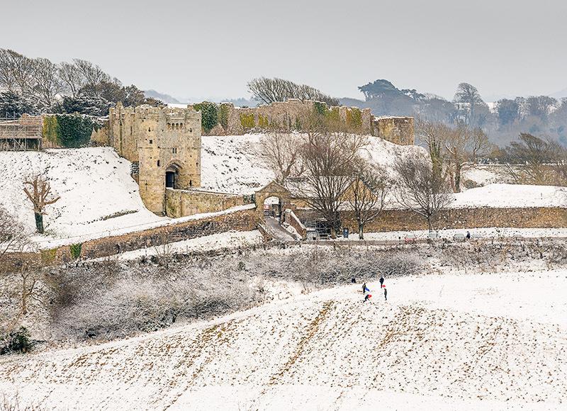 1964 Snow Carisbrooke Castle - Cowes, Newport and Carisbrooke landscapes