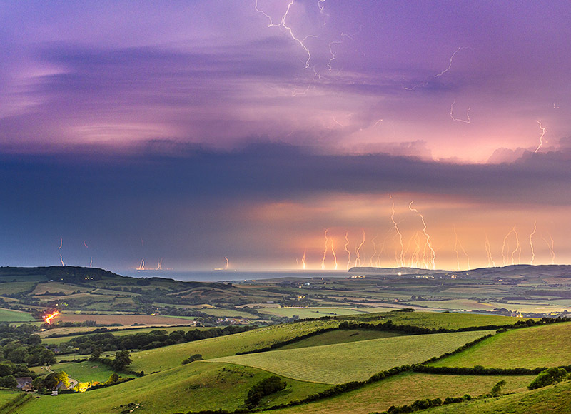 1568 Lightning over West Wight - Compton and West Wight landscapes